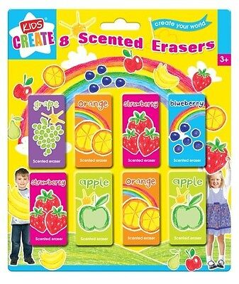 8 Fruit Scented Smelly Erasers Rubbers Kids Back To School Party Bag Filler Toy • 2.45£