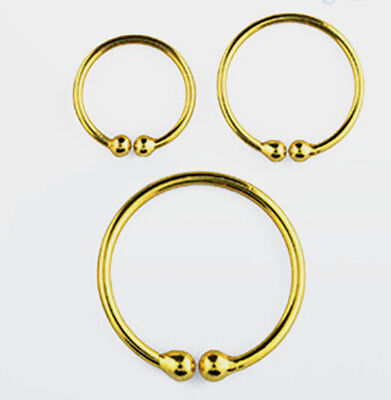 AU3.70 • Buy Gold Plated Fake Hoop Ring Lip Nose Ear - Choose 1 Or 2  In  Size 7mm, 9mm