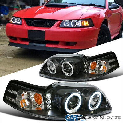 $120.95 • Buy Ford 99-04 Mustang Replacement Black LED Halo Projector Headlights Head Lamps