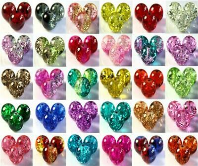 CRACKLE GLASS BEADS BUY 3 GET 3 FREE ROUND 200x 4mm 100x 6mm 50x 8mm 25x 10mm • 1.89£