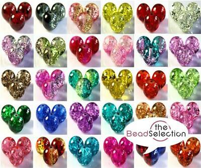 CRACKLE GLASS BEADS BUY 3 GET 3 FREE ROUND 4mm 100x 6mm 50x 8mm 25x 10mm • 1.69£