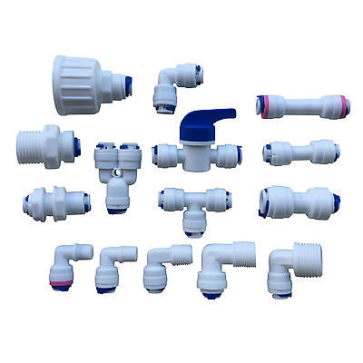1/4  Push Fit Pipe Fittings For American Fridge And RO Unit Elbow, Tee Piece Etc • 2.25£