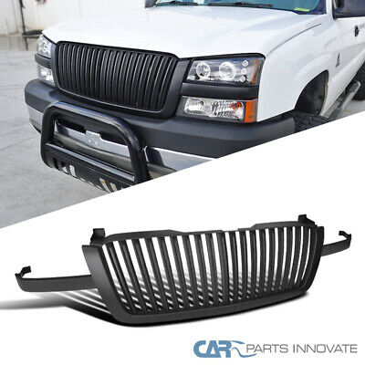 $137.95 • Buy For 03-05 Chevy Silverado Avalanche Vertical Matte Black Front Hood Grille Grill