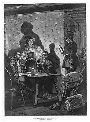 RICHARD CATON WOODVILLE A Visit From The Police - Antique Print 1885 • 12.95£