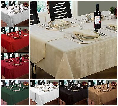 New Jacquard Hampton Tablecloths Napkins Runners & Placemats All Colours / Sizes • 7.30£
