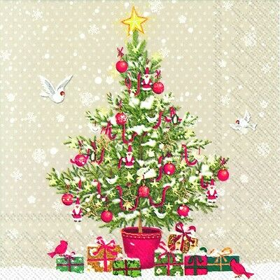 PETITE CHRISTMAS TREE Linen Paper Napkins Traditional English 20 In Pack • 4.74£