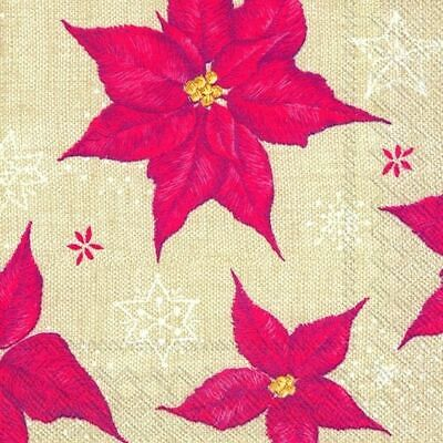 STITCHED WINTER ROSE Linen Christmas Paper Cocktail Tea Napkins 20 In Pack • 3.99£