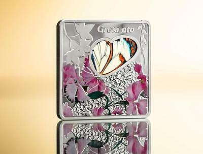 Palau 2014$10 Animals In Glass Butterfly Greta Oto 50g Proof Silver Coin 999only • 299$