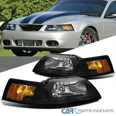 $69.95 • Buy For 99-04 Ford Mustang GT Replacement Black Headlights Amber Corner Signal Lamps