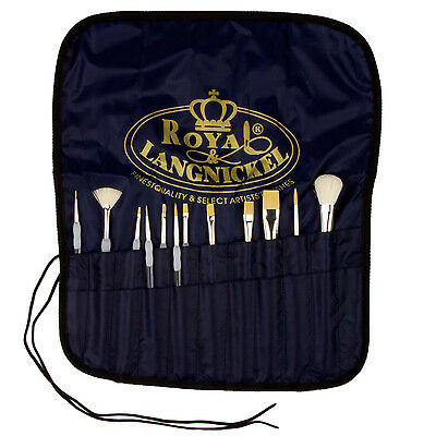12 Royal Soft Grip Brushes Value Pack Includes Free Canvas Brush Carrier • 18.99£