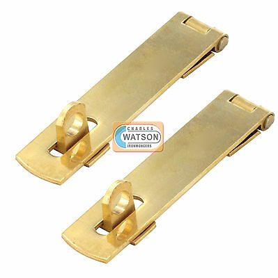 £3.39 • Buy 2 X 75mm Solid Brass Hasp & Staple For Small Doors, Cupboards & Cabinets