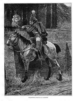 RICHARD CATON WOODVILLE Reconnoitring - Antique Print 1886 • 12.95£