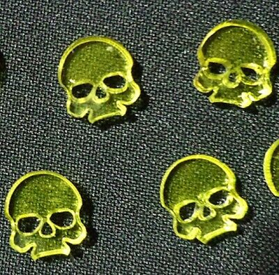 TTCombat Wargames - Wound Markers - Yellow Transparent Acrylic Skulls X 8 • 1.95£