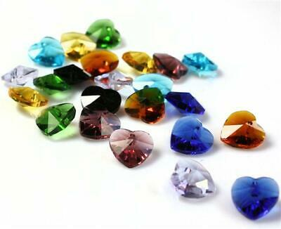 £2.49 • Buy 10 HEART FACETED GLASS BEADS PENDANT CRYSTAL SUN CATCHER 10mm  COLOUR CHOICE