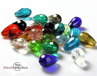 10 X FACETED TEARDROP CRYSTAL GLASS DROP PENDANTS 15mm OR 10mm 15 COLOUR CHOICE • 2.29£