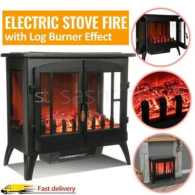 Electric Fireplace Log Burning Flame Effect Stove Fire Heater Thermal Wood 2000W • 109.99£