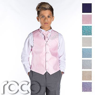 £19.99 • Buy Boys Swirl Waistcoat Suit, Page Boy Suits, Boys Wedding Suits, Grey Trousers