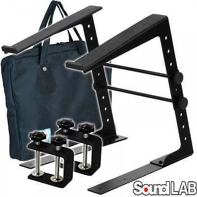 Soundlab Height & Width Adjustable DJ Laptop Stand Computer Table Clamps + Case • 25.99£