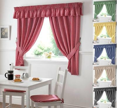 £16.89 • Buy GINGHAM CHECK KITCHEN CURTAIN ~ FREE Tiebacks ~ Many Colours & Sizes
