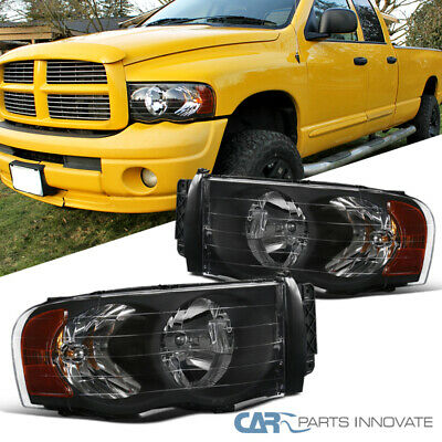 $70.95 • Buy For Dodge 02-05 Ram 1500/2500/3500 Pickup Black Headlights Head Lamps Left+Right