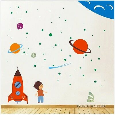 Mega Pack Spaceship And Stars Nursery Wall Art Decor, Wall Stickers - PD403 • 38.99£
