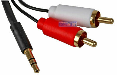 £4.65 • Buy Slim White 3.5mm Stereo Jack To 2x RCA Twin Phono Cable TV PC Phone Aux Audio