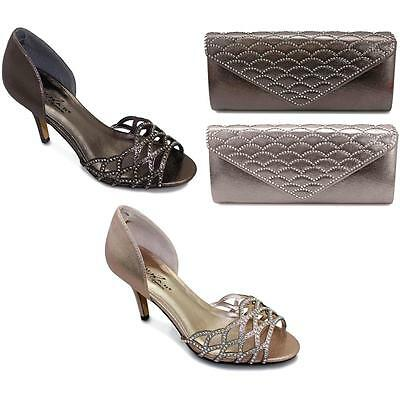 Ladies Diamante Cut Out Shiny Strapless Womens Clutch Bag Mid Heels Shoes • 39.99£