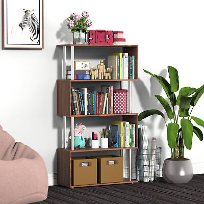 Wooden S Shape Lounge Storage Display Unit Bookcase Bookshelf • 36.99£