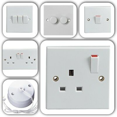 £3.99 • Buy Standard White Wall, Ceiling & Floor Electrical Mains Plug  Sockets & Switches