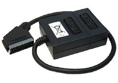 2 Way Scart Lead Cable Splitter Adaptor Extension Box • 4.99£