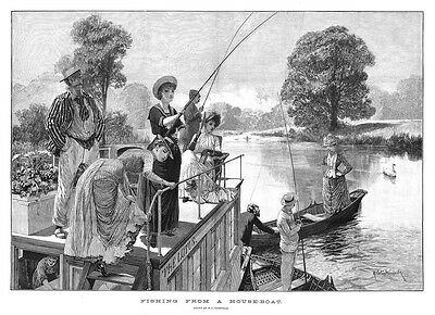 RICHARD CATON WOODVILLE Fishing From A House-boat - Antique Print 1887 • 16.95£