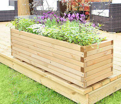 Raised Trough Wooden Garden Planter Pine Flower Bed Plant Pot Heavy Duty Veg New • 117.99£