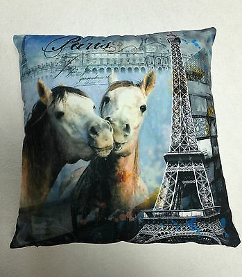 Blue Grey Paris & Horses Love Cushion Cover / Pillowcase 45x45cm | Free Postage • 3.70£