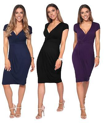 £14.99 • Buy Womens Ladies V Neck Wrap Midi Dress Front Pleated Skirt Top Cap Sleeve Party