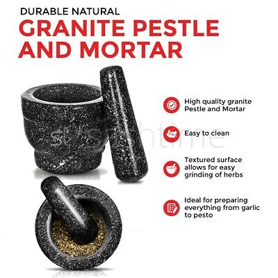 £14.95 • Buy Large Pestle And Mortar Set Natural Spice & Herb Crusher Grinder Durable Stone