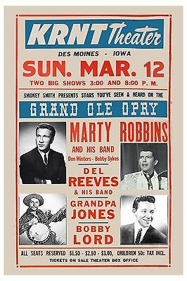$12 • Buy Country's Grand Ole Opry: Marty Robbins & Del Reeves & More Concert Poster