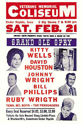 $12 • Buy Country's Grand Ole Opry:Kitty Wells & David Houston & More Concert Poster