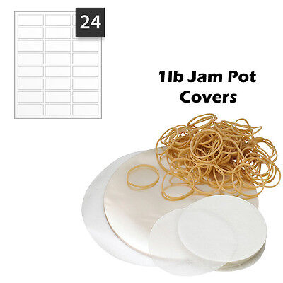 Jam Pot Jar 1lb Covers Set Preservers 96 Piece Transparent Waxed Labels Circles • 2.50£