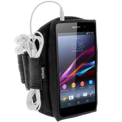 Black Running Jogging Sports Armband For Sony Xperia M4 Aqua Fitness Case Cover • 2.49£