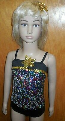 £12.03 • Buy NEW DANCE COSTUME Leotard W/ Sequin Flowers Majorette Flashy Pageant Over 10 NWT