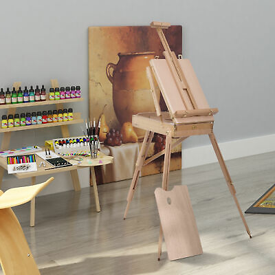 £45.99 • Buy Wooden Tripod Art Easel Portable Sketch Drawing Box Artist Painting Foldable