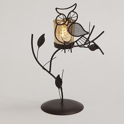 £9.99 • Buy Owl Brown Tea Light Holder Free Standing Night Home Garden Candle Decorative