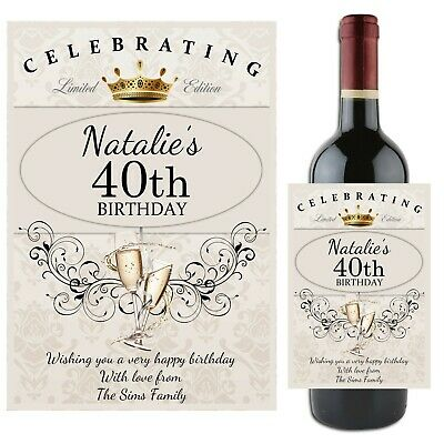 Personalised Happy 18th 21st 30th 40th Birthday Wine Champagne Bottle Label N64 • 3£