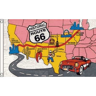 Route 66 Flag 5 X 3 FT - USA United States Of America Highway Road Map Banner • 4.99£