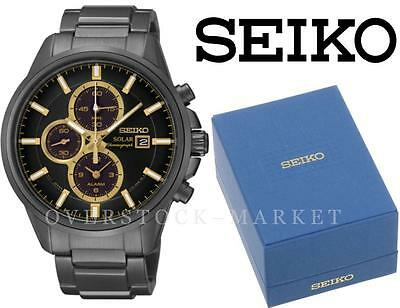 $ CDN144.12 • Buy Mens Seiko Solar SSC269 IP Ion Plated Stainless Steel Chronograph Alarm Watch