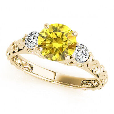 0.74 Ct Yellow Canary Diamond 3 Stone Solitaire Engagement Ring 14k Yellow Gold • 711.78£
