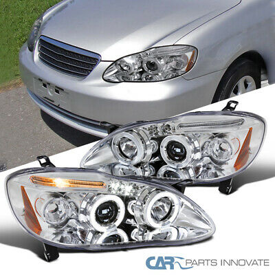 $125.95 • Buy For 03-08 Toyota Corolla Clear LED Halo Projector Headlights Driving Head Lamps