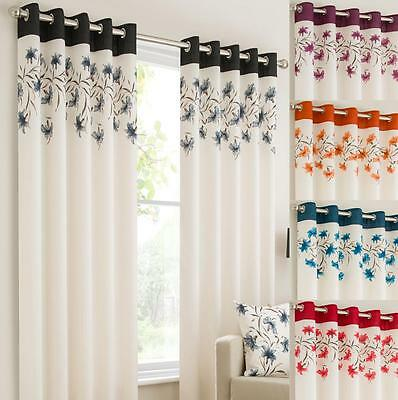 LILY Ring Top Fully Lined Floral  Eyelet Curtains RED BLK TEAL ORANGE PURPLE • 44.49£