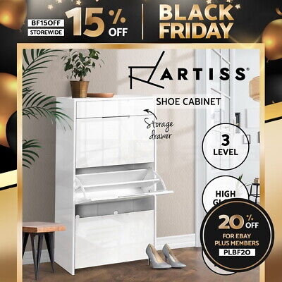 AU139.95 • Buy Artiss Shoe Cabinet 3 Tier Shoes Storage With Drawer Gloss White Rack Shelf