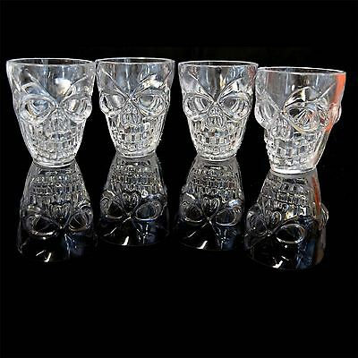 Skull Shape Clear 4 Shot Glasses Halloween Tableware Party Decorations Novelty • 4.99£